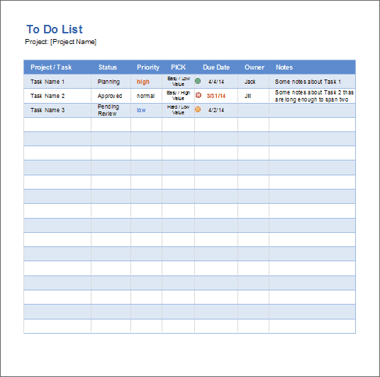 Шаблоны Excel. to-do-list