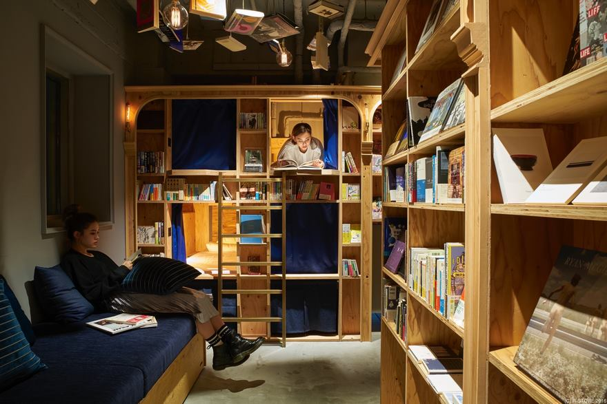 Хостел-библиотека Book and Bed Kyoto (5)