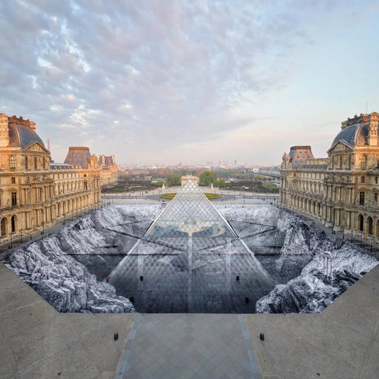 JR Louvre Optical Illusion 1